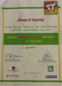 Urkunde - Kinderfreundlichster Betrieb im 17. Bezirk